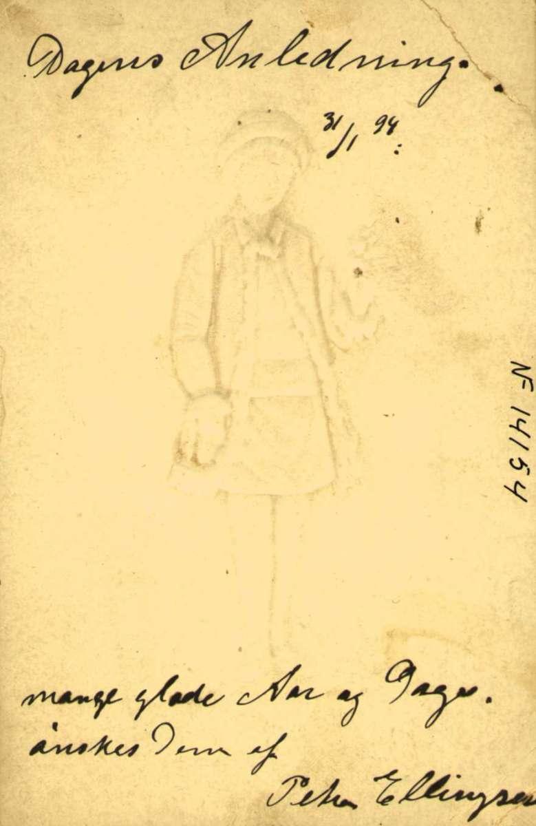Postkort. Gratulasjonshilsen. Vintermotiv. Landskap. Liten pike med blomster. Datet 31.1.1898.