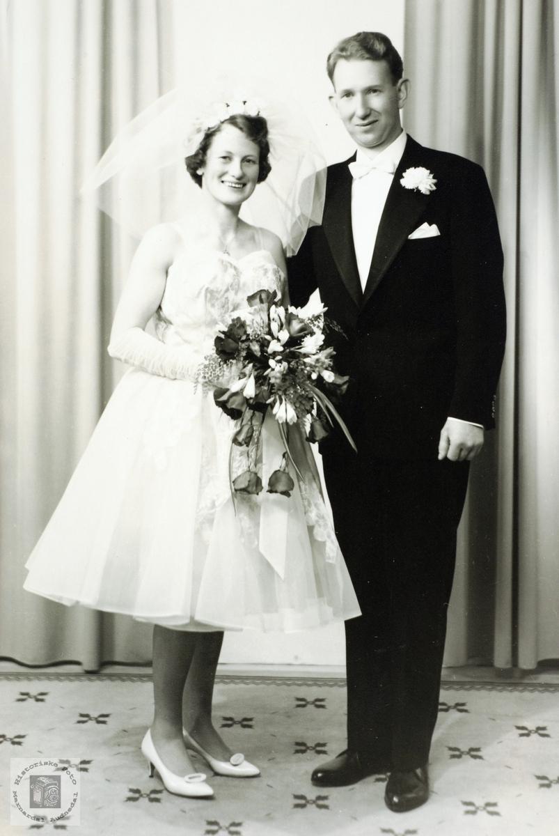 Portrett av brudeparet Bertha Marie og Trygve Jortveit.