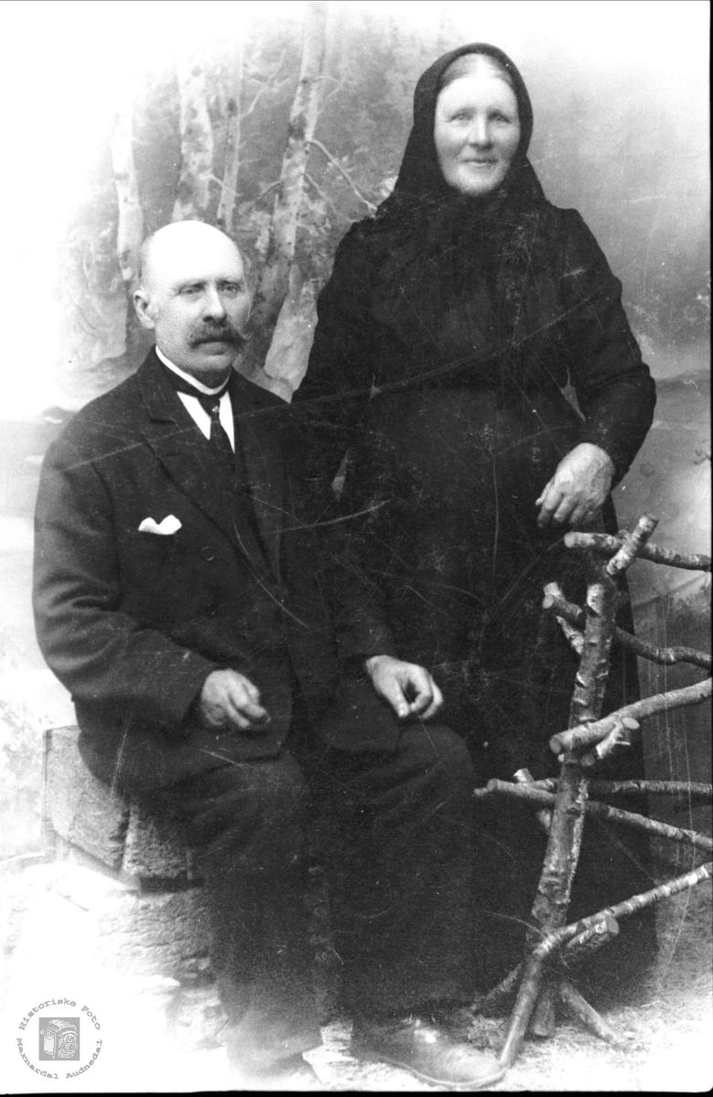 Portrett av ekteparet Abraham og Susanna Mjåland, Laudal.