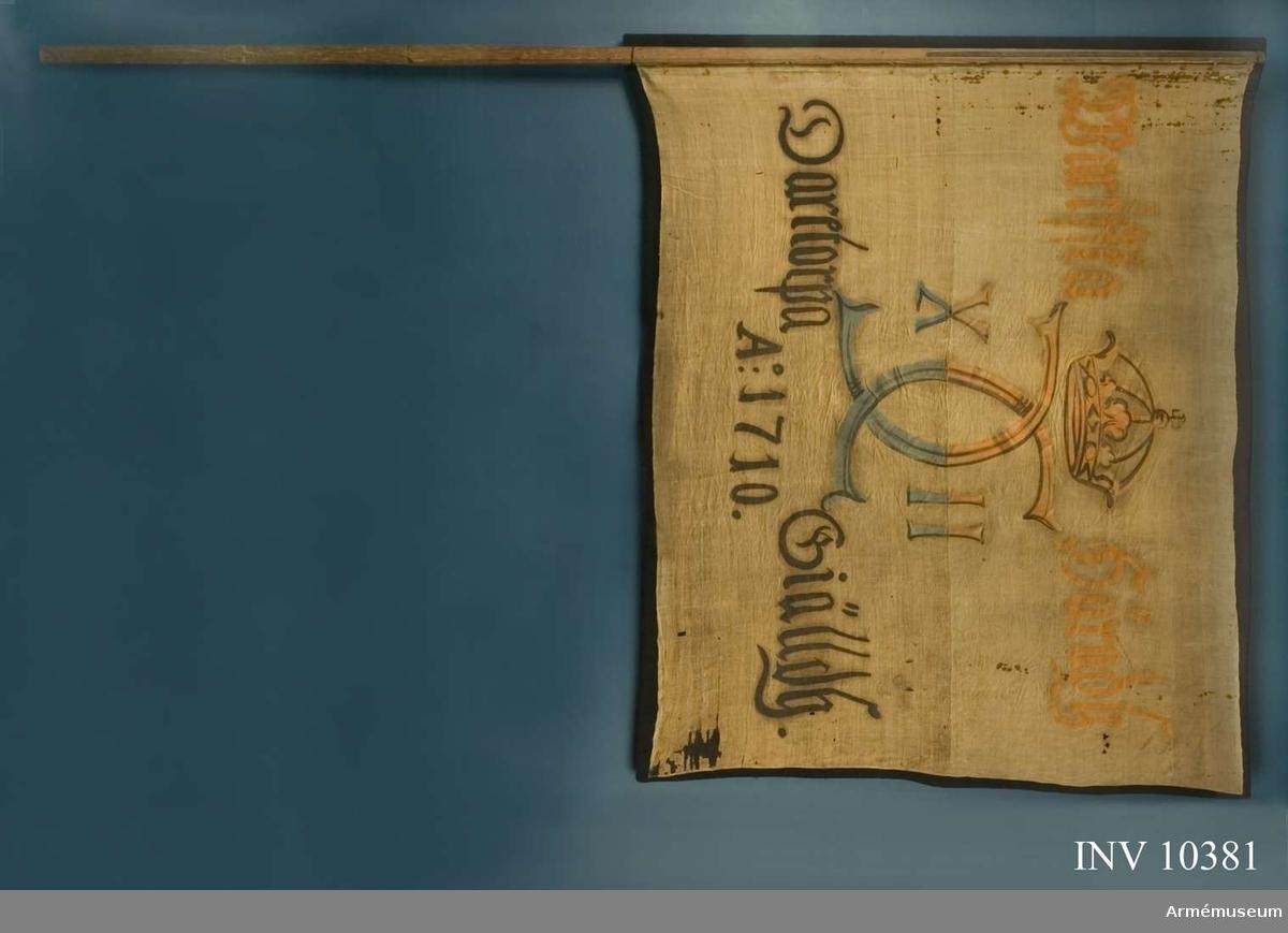 Grupp B I. Fanduk av lärft, hopsydd av två våder, med målade emblem, omvänt  lika på båda sidor, Karl XII:s namnchiffer, av sluten krona krönt spegelmonogram, avdelande siffrorna X - II.  Inskrift i två rader, avdelad av monogrammet. Målningen på övre halvan brunrött och brunt, på nedre halvan blått och vitt med skuggning i svart. Fastspikad på läderband med vanliga spikar.   Stång av brunpatinerad furu, tillyxad som standarstång med grepp. Spets av järn, fäst med två järnskenor. Saknas.