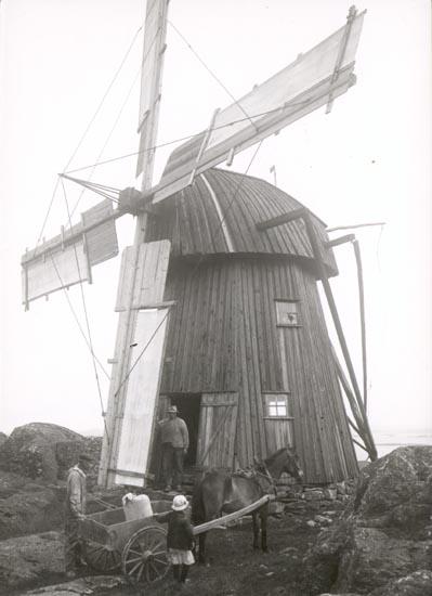 """Noterat på kortet: """"TORÖD KLÖVEDAL TJÖRN"""". """"GAMMAL VÄDERKVARN"""" """"FOTO (D27) DAN SAMUELSON 1924. KÖPT AV DENS. DEC.58""""."""
