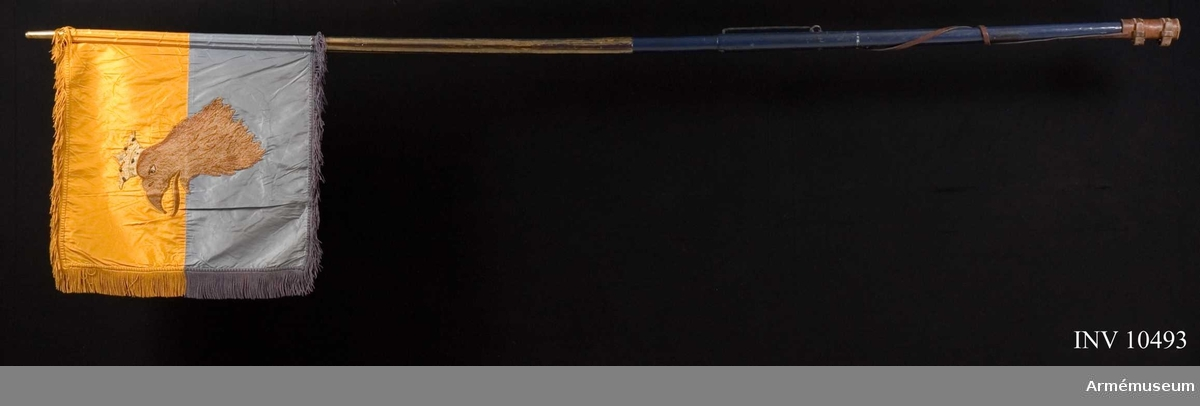 Grupp B.  Duk av taft, dubbelt delad i två halvor, den övre gul den undre blå. Broderade emblem. På ena (inre) sidan Carl XIV Johans namnchiffer, dubbla C omkring XIV, under sluten kunglig krona, allt i guld. Kronan dessutom med foder i rött silke, pärlor i silver och stenar i blått och rött silke, allt i plattsöm. På andra sidan Skånes sköldemärke, en röd grip med öppen krona. Gripen är vänd från stången och broderad i olika röda silken i schattersöm, öga vitt och krona gul med pärlor i silver och stenar i blått och rött silke, allt i plattsöm. Kantad med sidenband och ca 60 mm bred frans av silke. Fäst med förgyllda spikar. Höjd 600 mm utan frans, med 710 mm. Bredd 550 mm utan frans.Stång av furu, övre delen refflad, nedre delen slät. Målad blå, med gula refflor. Längd från spetsen till dukens underkant 600 mm, till handgreppets överkant 1380 mm, till handgreppets underkant 1590 mm och totalt 2690 mm. Löpande bärring på 220 mm lång bygel av järn.  Stigbygelholk med rem allt av tunnt läder fäst i bygeln. Spets av förgylld mässing, bladet med tre kronor (stämmer inte med fotografiet, men väl med föremålet) ställda en och två inom enkel lyrformig ram. Holken längd 100 mm. Bladet längd 1750 mm. Fodral av brunt läder med ficka för bladet och rund bricka med skvadronsmärke. Längd 750 mm, bredd 170 mm.