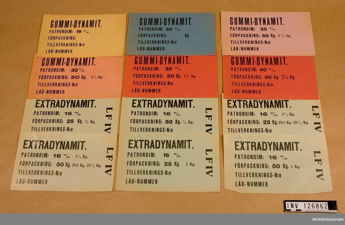 """Avseende """"Extradynamit"""". Diverse sorter."""