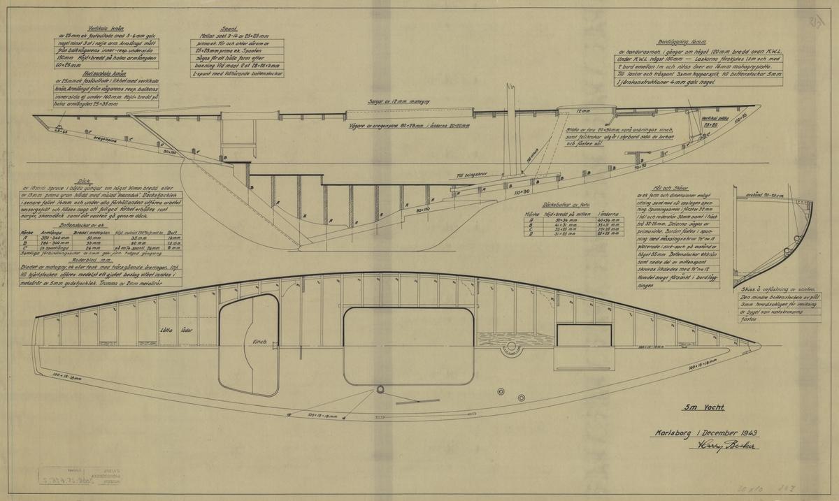 Byggnadsritning i plan och profil med tvärsnitt