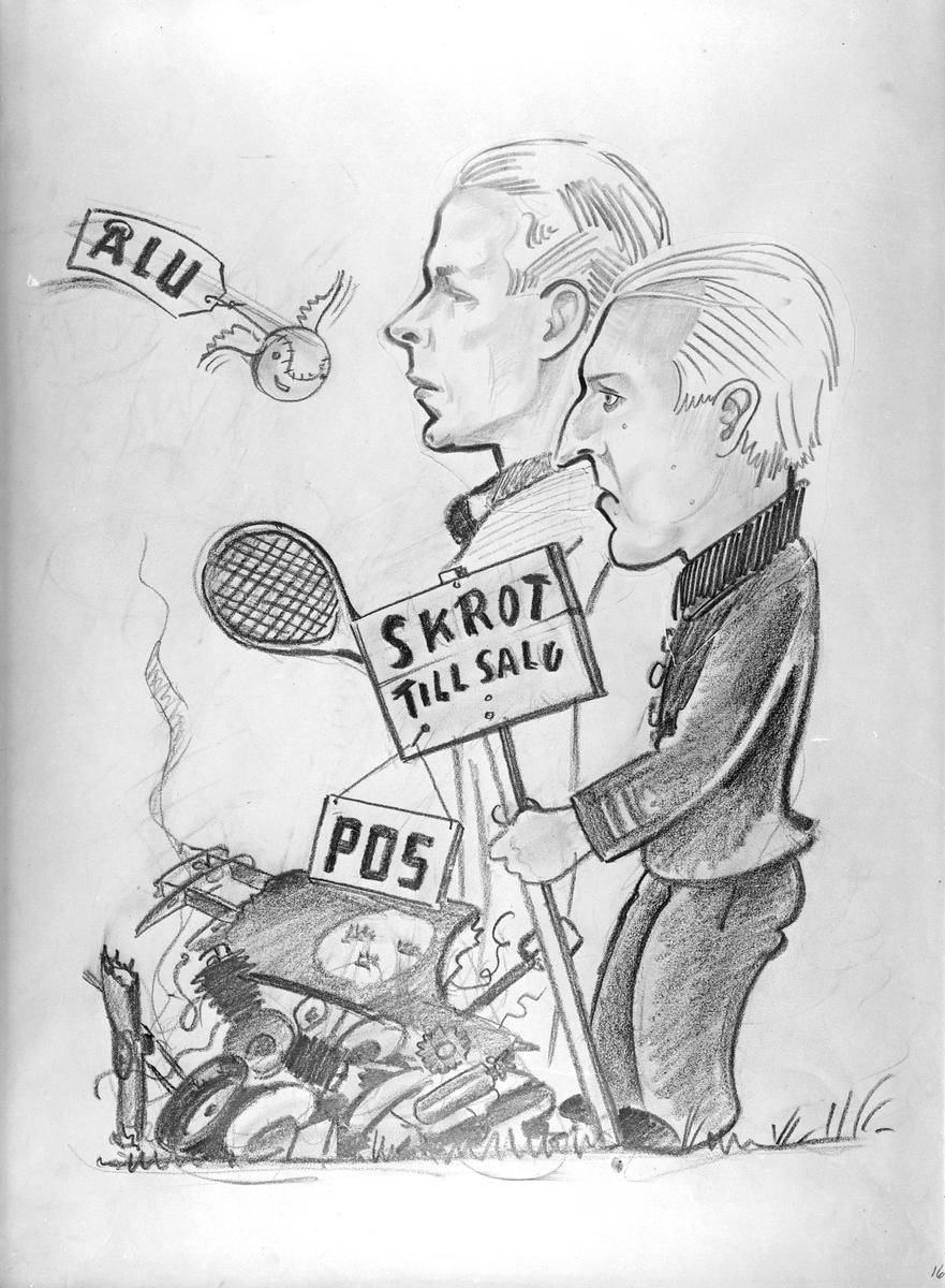 Karikatyrbild av militärer ur flygvapnet, 1930-tal.  Märkt 'ÅLU', 'POS'.   Avfotograferad teckning.