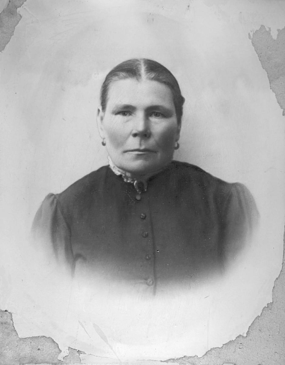 Stort halvkroppsportrett av Marie Elise Korbi. Hun var gift med Isak Vilhelm Korbi og sammen hadde de seks barn. Hun er kledd i en mørk kjole.