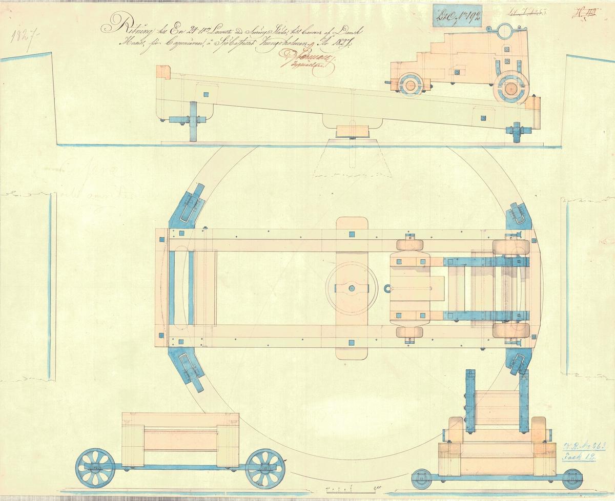 Ritning till en 24 pundig lavett med svänglåda till kanoner av dansk modell å sjökastellet Kungsholmen