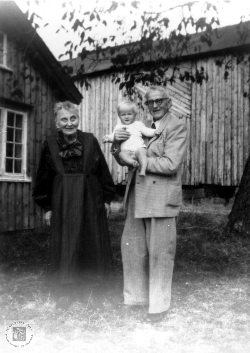 Hilda og Gunnar Anderson Bjørnestøl med barnebarnet Bjørn på armen.