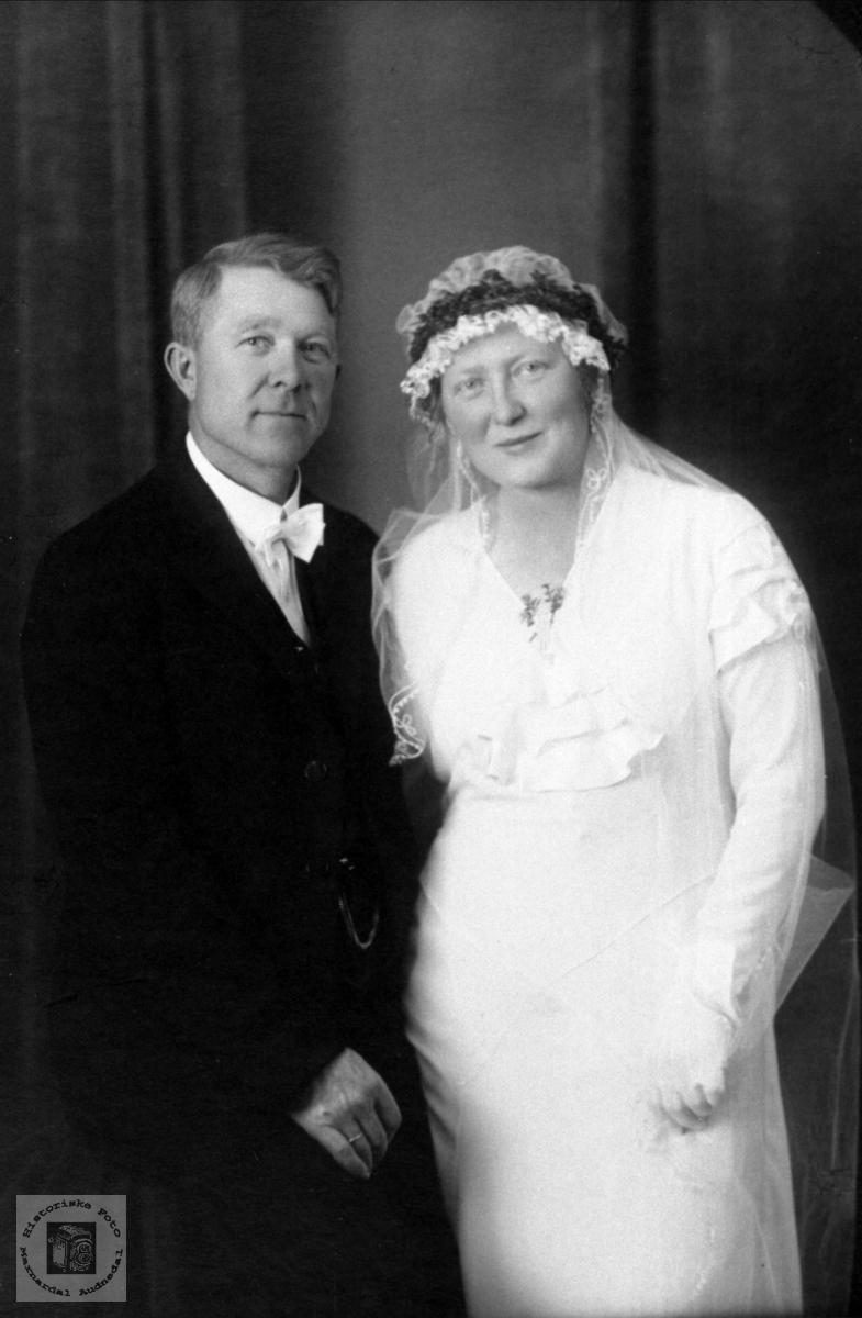 Brudeparet Torkel og Karoline Homme, Bjelland.