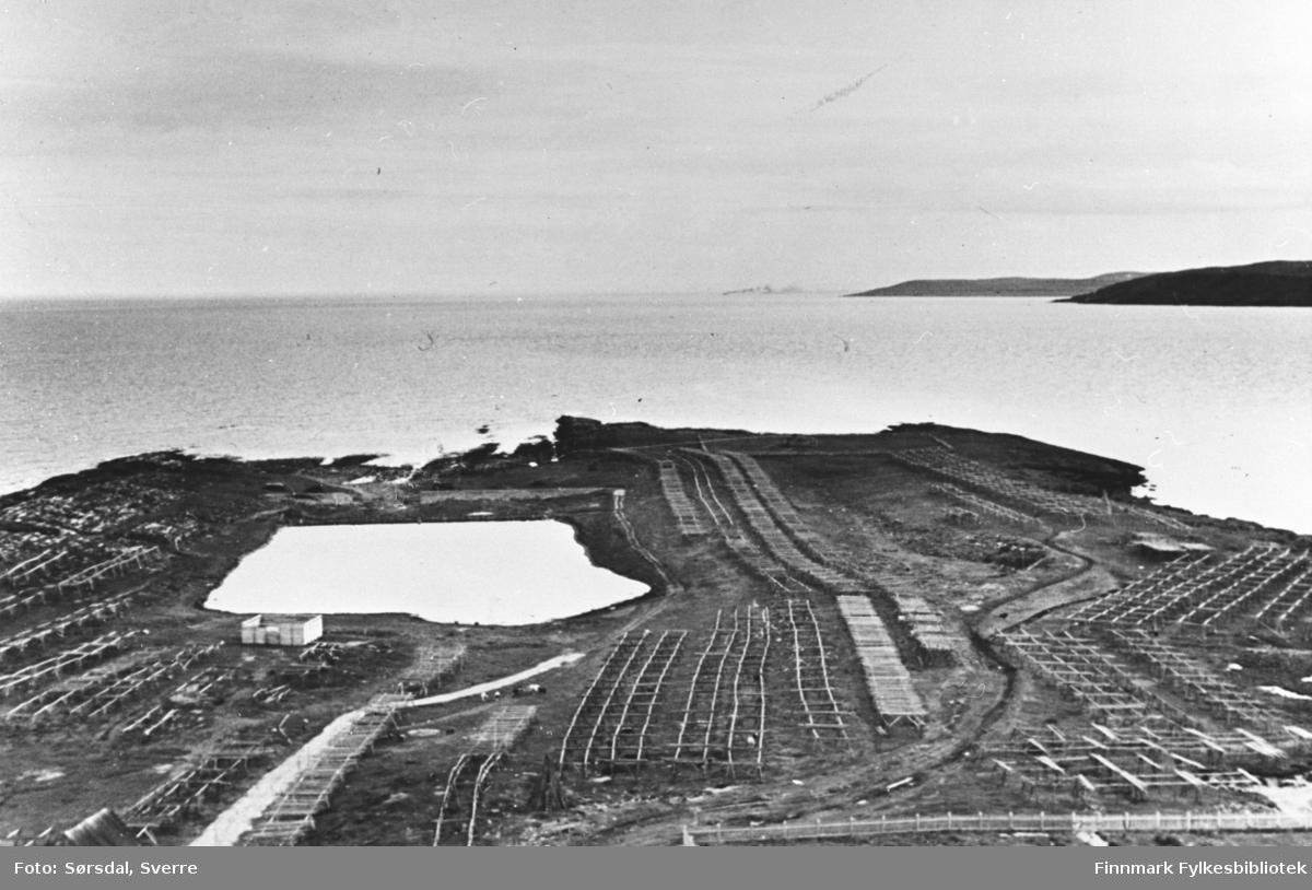 Fotografert fra toppen av radiomasta i Vardø. Utsikt til Stegelneset og Stegelnesdammen.
