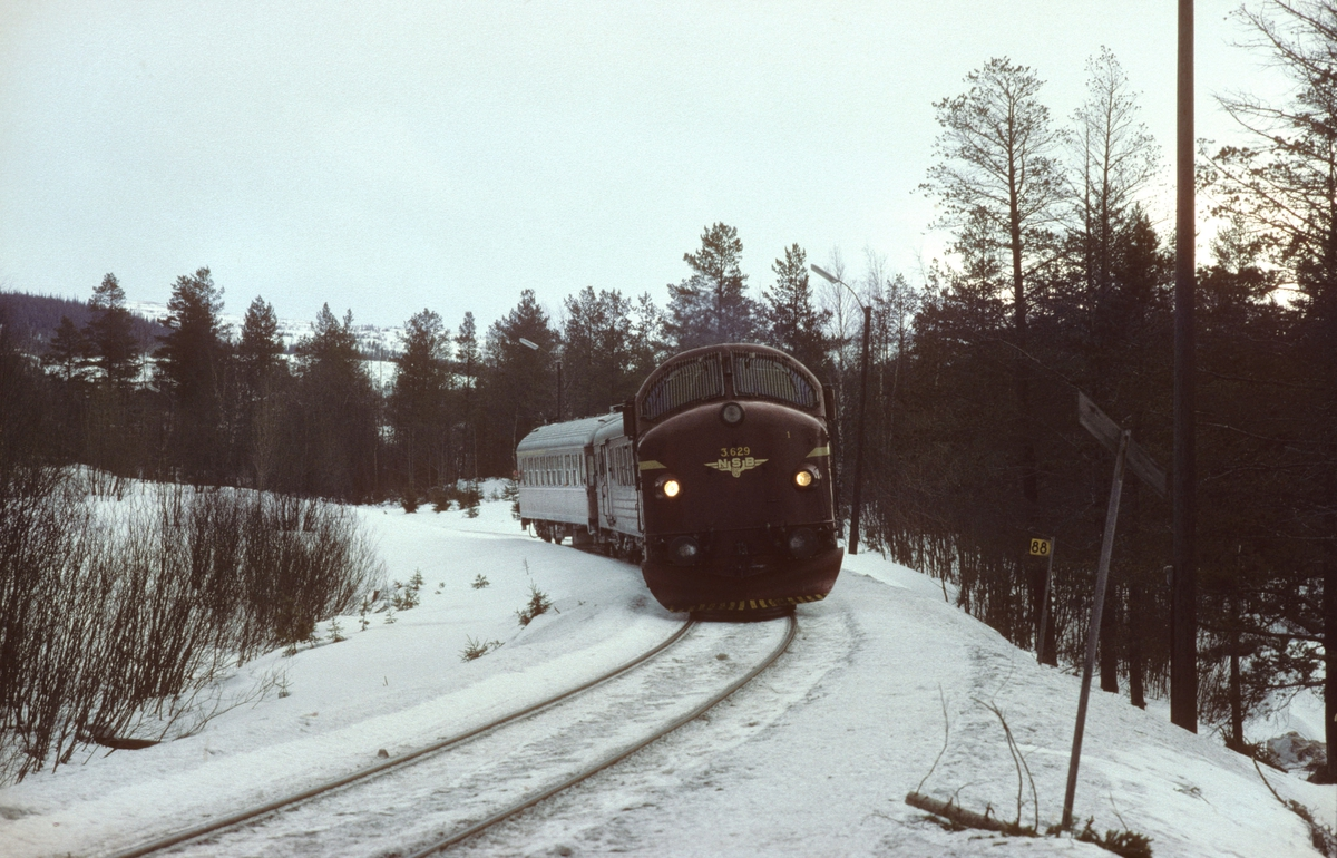 NSB dieselelektrisk lokomotiv Di 3 629 med persontog 424, Stockholm - Trondheim, i Kopperå, ved Meråker Smelteverk.