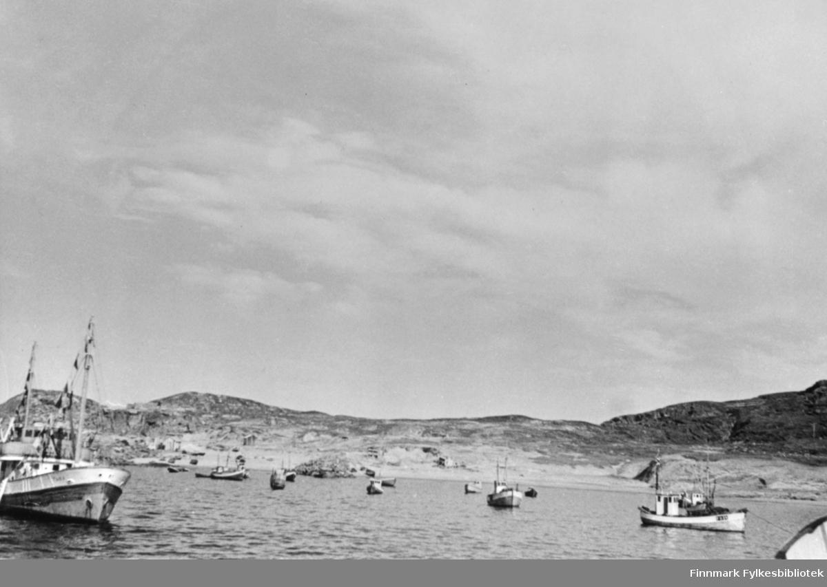 Grense Jakobselv 100 års jubileum 1951. Flaggsmykkede båter på reden.