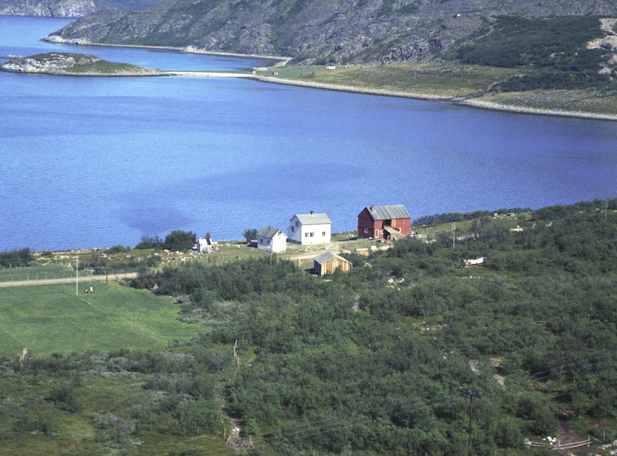 Flyfoto fra Friarfjord. Negativ nr. 122678. Kunden var Fritjof Jullum i Friarfjord.     Fargekopi finnes i arkivet.