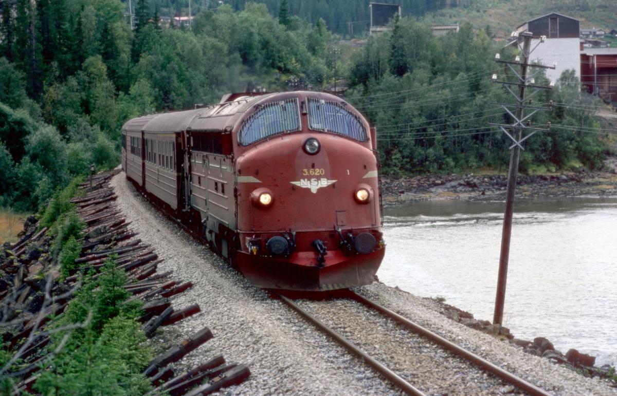 Nordlandsbanens dagtog 451 Trondheim - Bodø på vei inn mot Mo i Rana med NSB dieselektrisk lokomotiv Di 3 620.