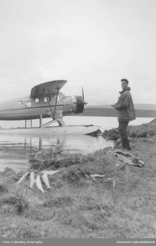 Fotografi fra Vadsø-traktene, flytur til Peskvannet. Ola Røste måtte begynne å fiske like ved flyet. Fiskefangsten sees på bakken.  Flyet Norseman ligger fortøyd mot stranda i bakgrunnen.  Bildet er tatt tidlig i august. Foto: Ernst Lebesby.