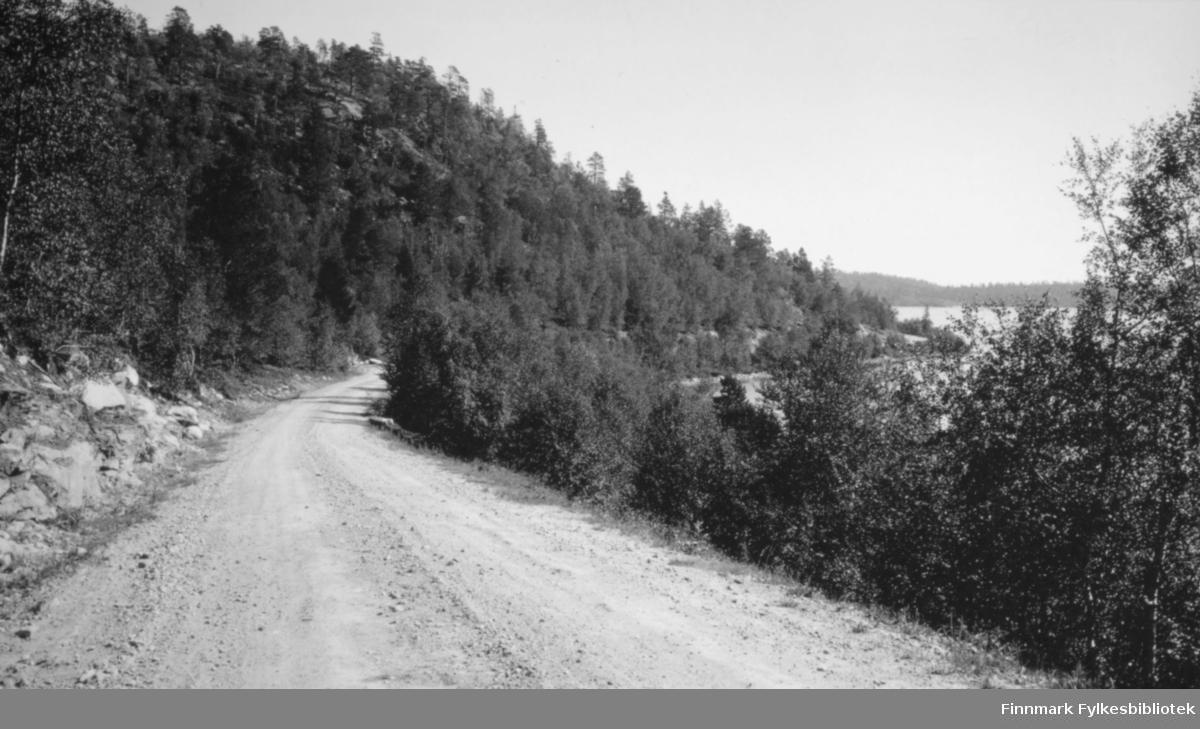 Dette er et parti av riksveien ved Neverskrukkebuktvatnet. Bildet er tatt av Chr. B. Heimbeck. Fra Nord-Norges turisttrafikk-forbund, Harstad.