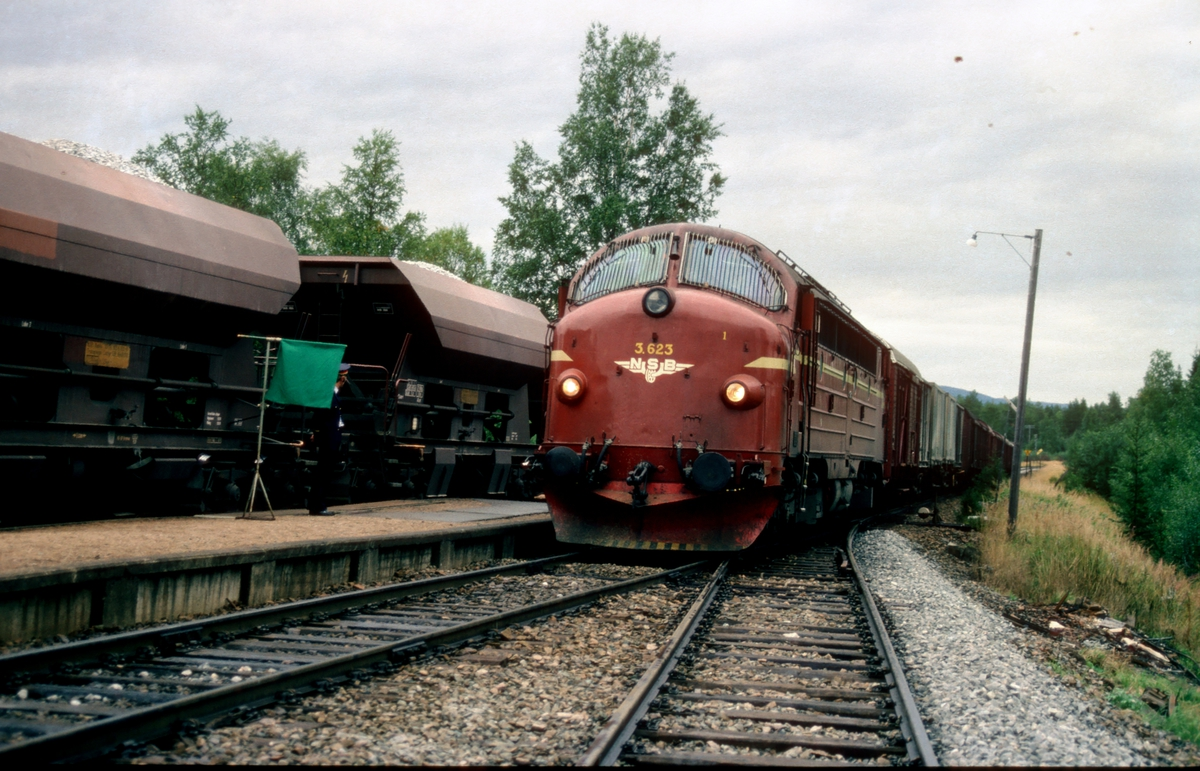 """Godstog 5794 (Bodø - Trondheim) får signal """"Passer"""" av togekspeditøren i Valøy stasjon. Godstog med pukkvogner står i spor 1."""