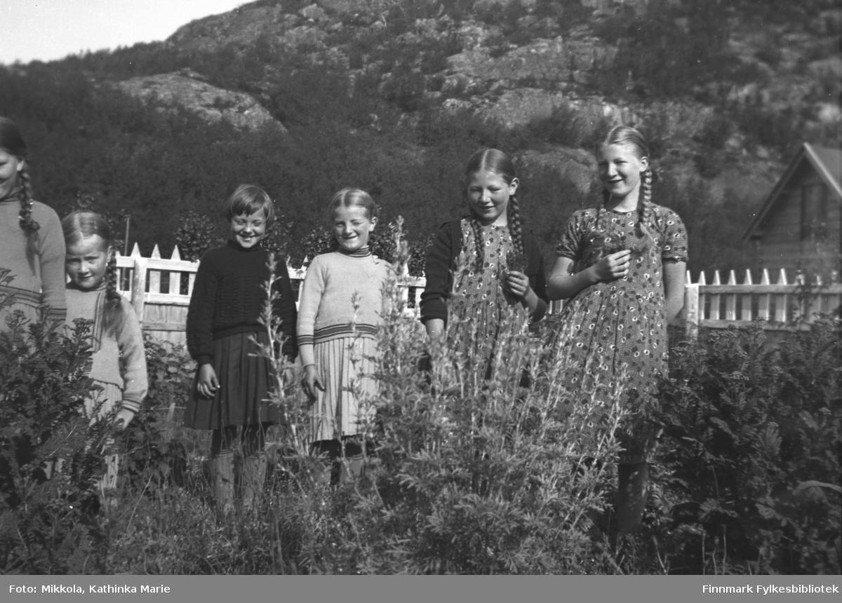Sommerbilde fra hagen på Mikkelsnes. Jentene fra venstre: Ingrid og Herlaug Mikkola, Olga Nilsen, Astrid, Kari og Gudrun Mikkola