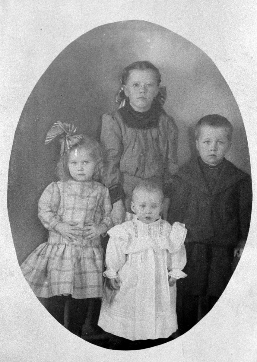 Amerikabilder, Per Mæhlum, Vallset. Portrett, gruppebilde fire personer,  Per Mæhlums barn. Fra venstre: Mildrid Mæhlum, Anna Mæhlum, Olav Mæhlum og bakerst: Dagny Mæhlum. Katheryn, Nord-Dakota, USA, Ca 1911.