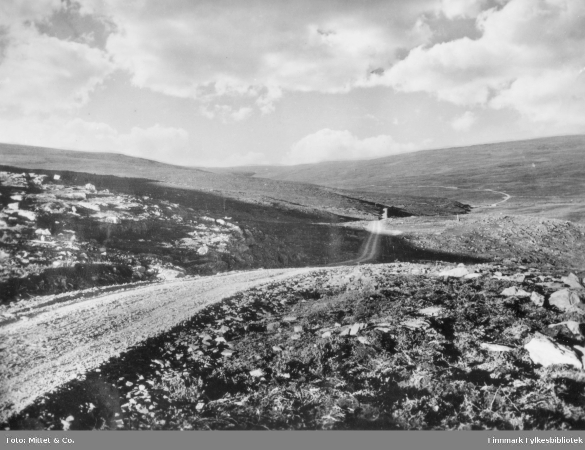 Et forografi av Ifjordfjellet. På bildet kan man se fjell og grusvei.