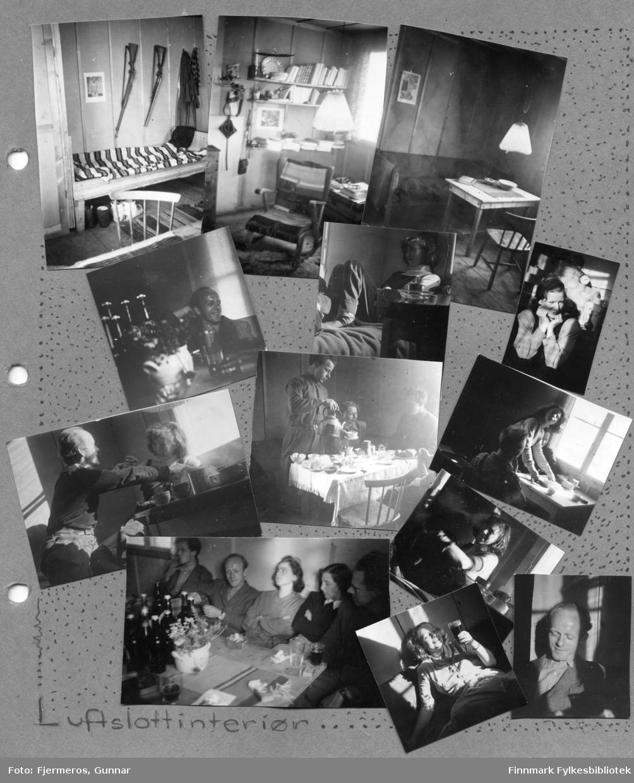 En albumside med mange småbilder av rom, interiør og mennesker. Sted og fotograferte personer er ukjent.