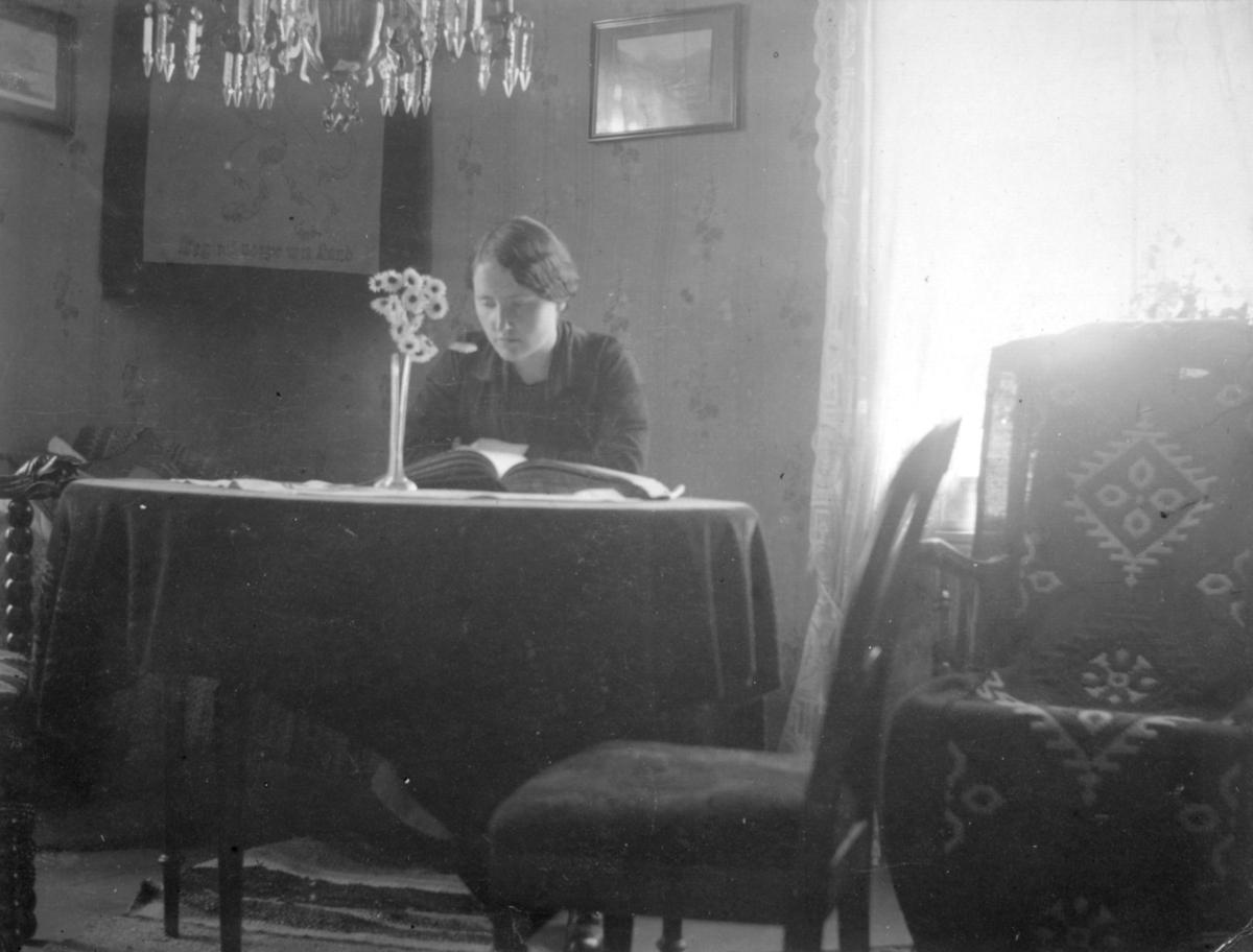 """""""Bilde fra Håheims. Neiden."""" En ukjent kvinne sitter med et bord og leser en bok. Kvinnen er muligens en del av Haaheim- familien. På bordet står en blomstervase, og i taket henger en lysekrone."""