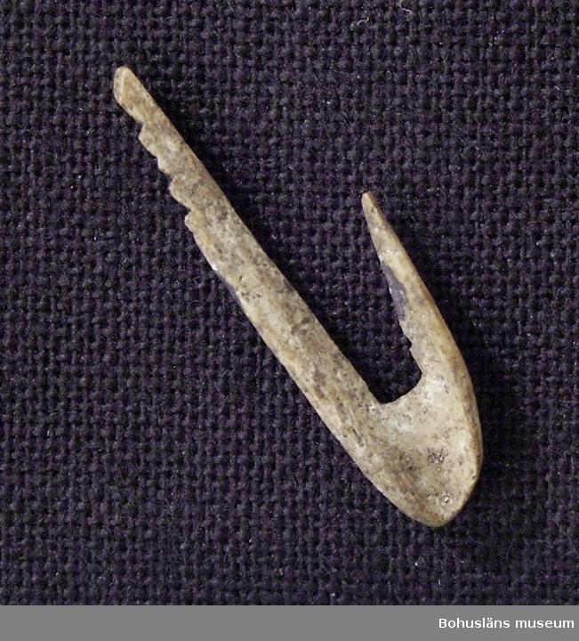 Krok, endast 1,9 cm lång, med fyra små skåror på skaftet för fäste av en lina.   Benkroken är från äldre stenåldern och ungefär 8 000 år gammal. Den påträffades år 1989 vid arkeologiska undersökningar av en stenåldersboplats vid torpet Dammen på gården Röe, i Bro socken, Lysekils kommun. Den hittades i en s.k. kökkenmödding, en avfallshög bestående av skal från olika ostron, musslor, snäckor samt djurbensrester från stenåldersmänniskornas måltider och redskapstillverkning. Att kroken och de andra benresterna har skyddats så länge i jorden beror på att de har legat i kalkrik jord, vilket bevarar detta material mycket bra.  I ett kulturlager i anslutning till kökkenmöddingen fann man många redskap av flinta: yxor, knivar, borrspetsar och skrapor. Knack- och malstenar av annan bergart träffade man också på.  Kroken är tillverkad av ett ben från en stor fågel, förmodligen svan. Med så små krokar har man fiskat ål eller sill.  På boplatsen fann man benrester från ett stort antal djur: 14 olika fiskarter, fyra fågelarter och sju däggdjur samt ben av hund.  Fynd av brända hasselnötsskal visar att man förutom jakt och fiske även samlade in och livnärde sig på vad skogen gav. Andra platser i Bohuslän där man också funnit fiskekrokar i ben från stenåldern är Huseby Klev i Morlanda socken på Orust, Rottjärnslid i Dragsmarks socken, Uddevalla, Rörvik i Kville socken, Tanum och på Dafter, Sandhem och Ånneröd i Skee socken, Strömstad.