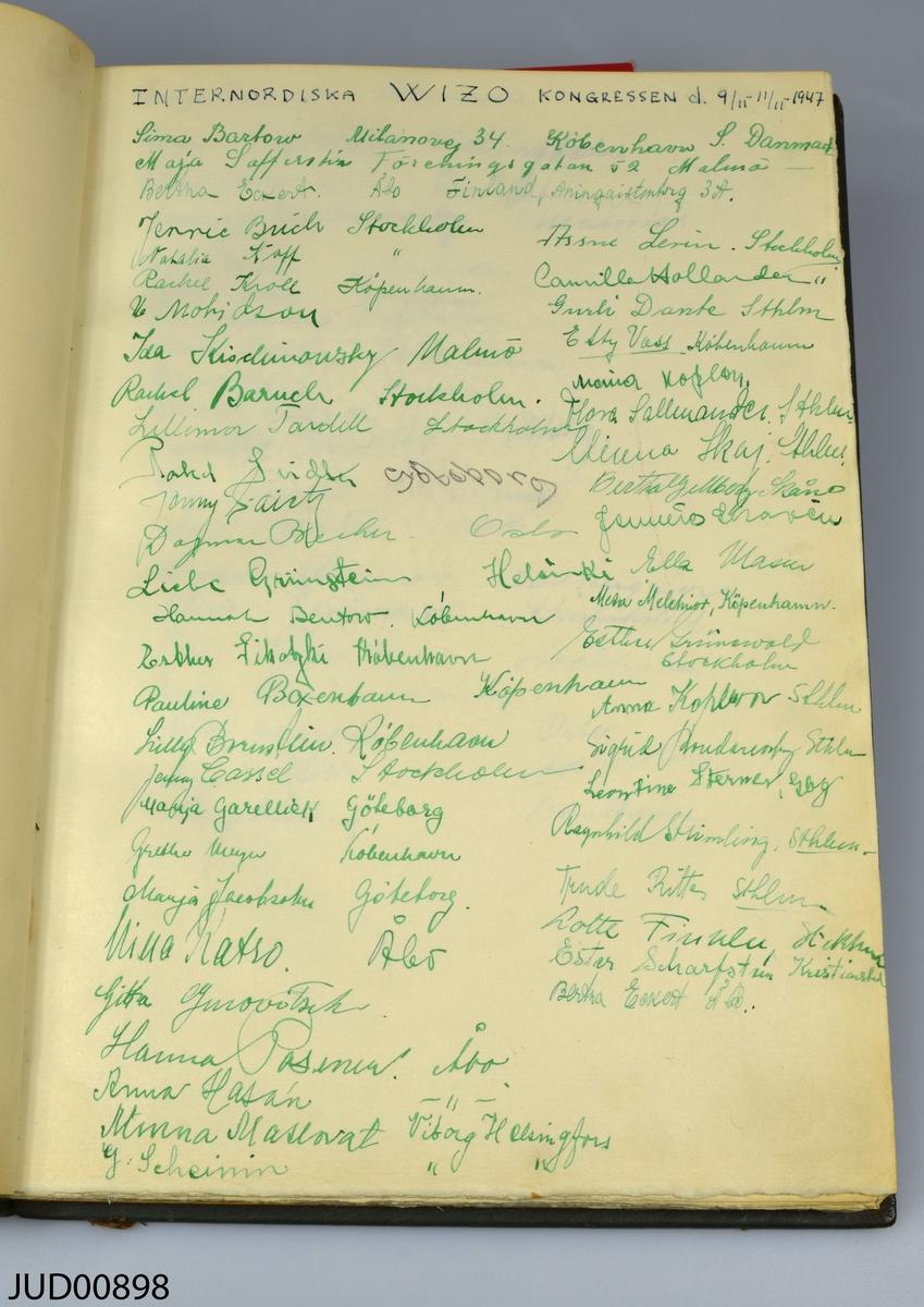 Gästbok från restaurang Ritus, klädd i grönt läder med pressade gulddetaljer. Pappret inuti är vattenstämplat. Boken är tillverkad av Nordiska bokhandelns bokbinderi i Stockholm. Inläggen i boken sträcker sig från invigningen 8 september 1946 till pesach 4 april 1953, med olika inlägg från olika sammankomster samt från ströbesökare.