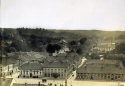 Vy från Carolikyrkan mot söder med Stora Torget år 1878.