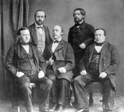 Tekniska skolan lärare på 1860-talet. Stående från vänster: