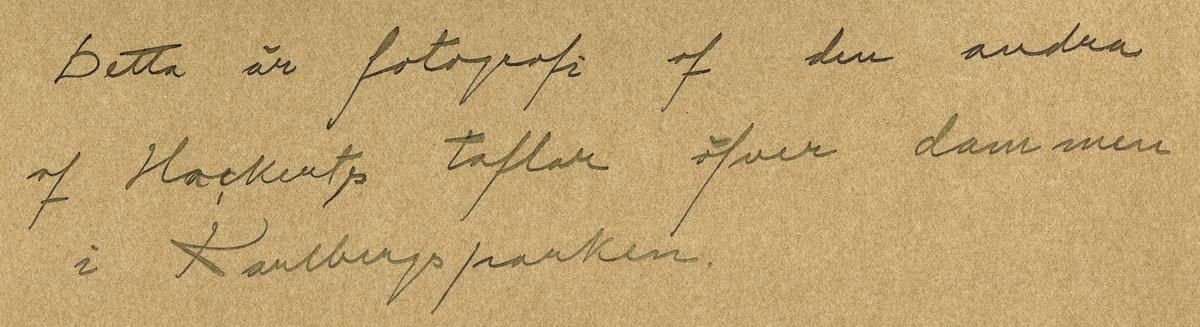 """Text i fotoalbum: """"Dammen i Karlbergsparken, nuvarande Ridplan från norra sidan år 1760. Konung Adolf Fredrik använde tidtals Karlberg till lustslott och beställde af målaren Hackert några vyer därifrån, varav två stycken närvarande finnas i Nationalmuseum i Stockholm. Detta är fotografi af den ena af dessa taflan""""."""