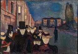 Aften på Karl Johan [Maleri]