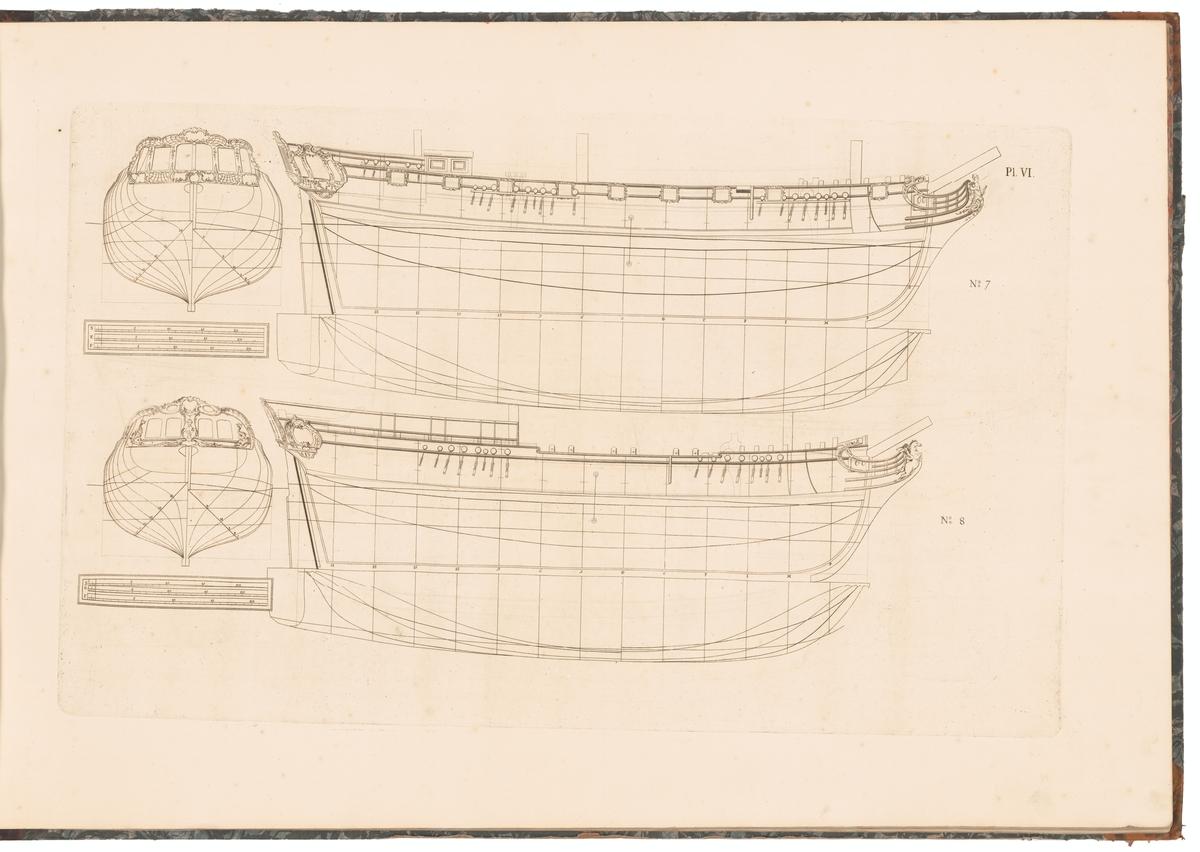 Två handelsfregatter med fregatt- (ritning nr 7) respektive snau-rigg (ritning nr 8). Spantruta och linjeritning.