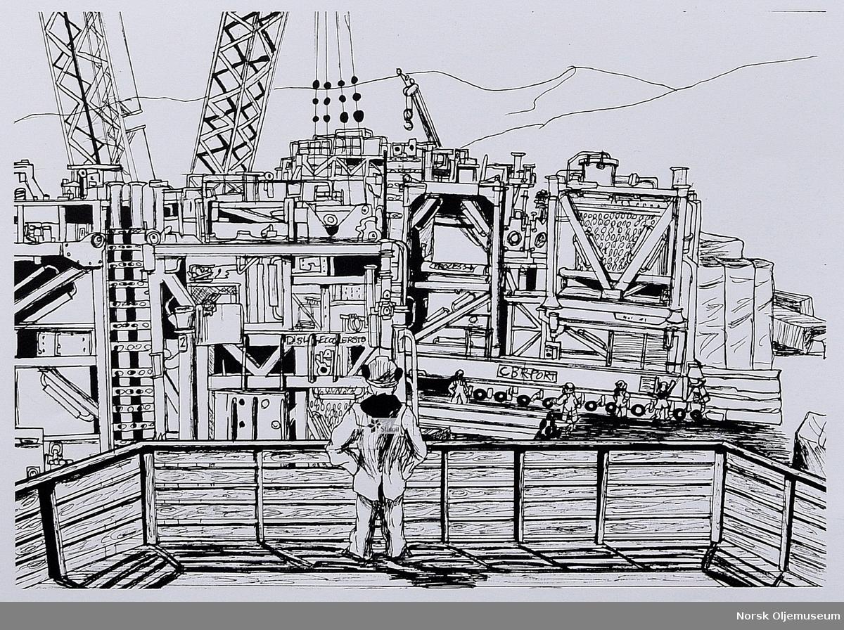 Plakat med illustrasjoner som viser Åsgard-prosjektet og prosessen fra produksjon av installasjon på land til nedsenking i havet.