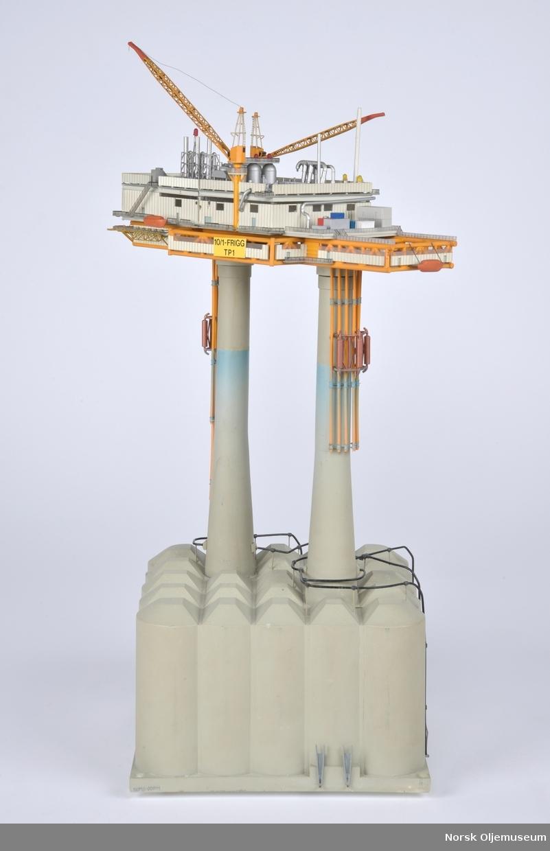 Modell av prosessplattformen TP1. Modellen har innlagte lysdioder og er bygget i målestokk 1:300.