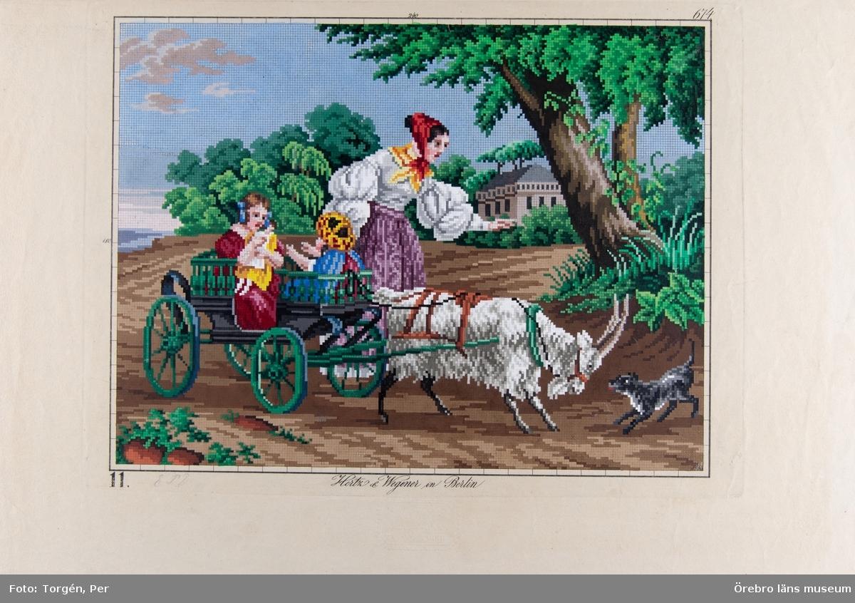 29 kolorerade litografier.   Mönsterplanscher för korsstygnsbroderi.   Gåva av Fröken Sophie af Klercker.