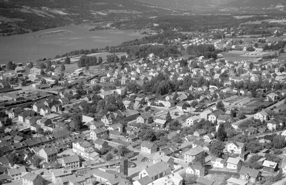 Flyfoto, Lillehammer, sentrum, Nordre Ål, Lågen,