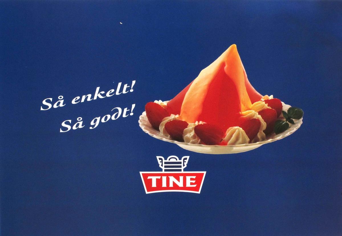 Fargefoto av jordbærgele og vaniljesaus. Tines emblem + tekst.