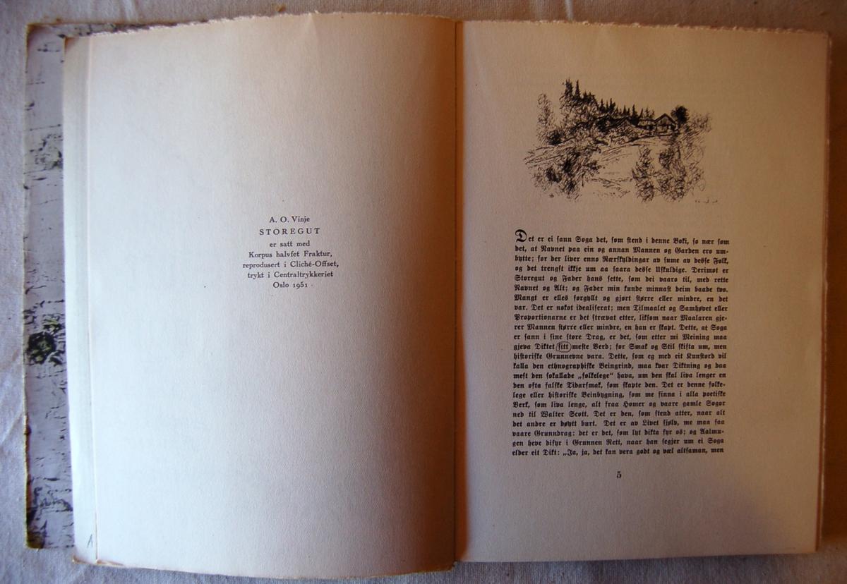 På forsiden av  boken et motiv i tresnitt med to hester.