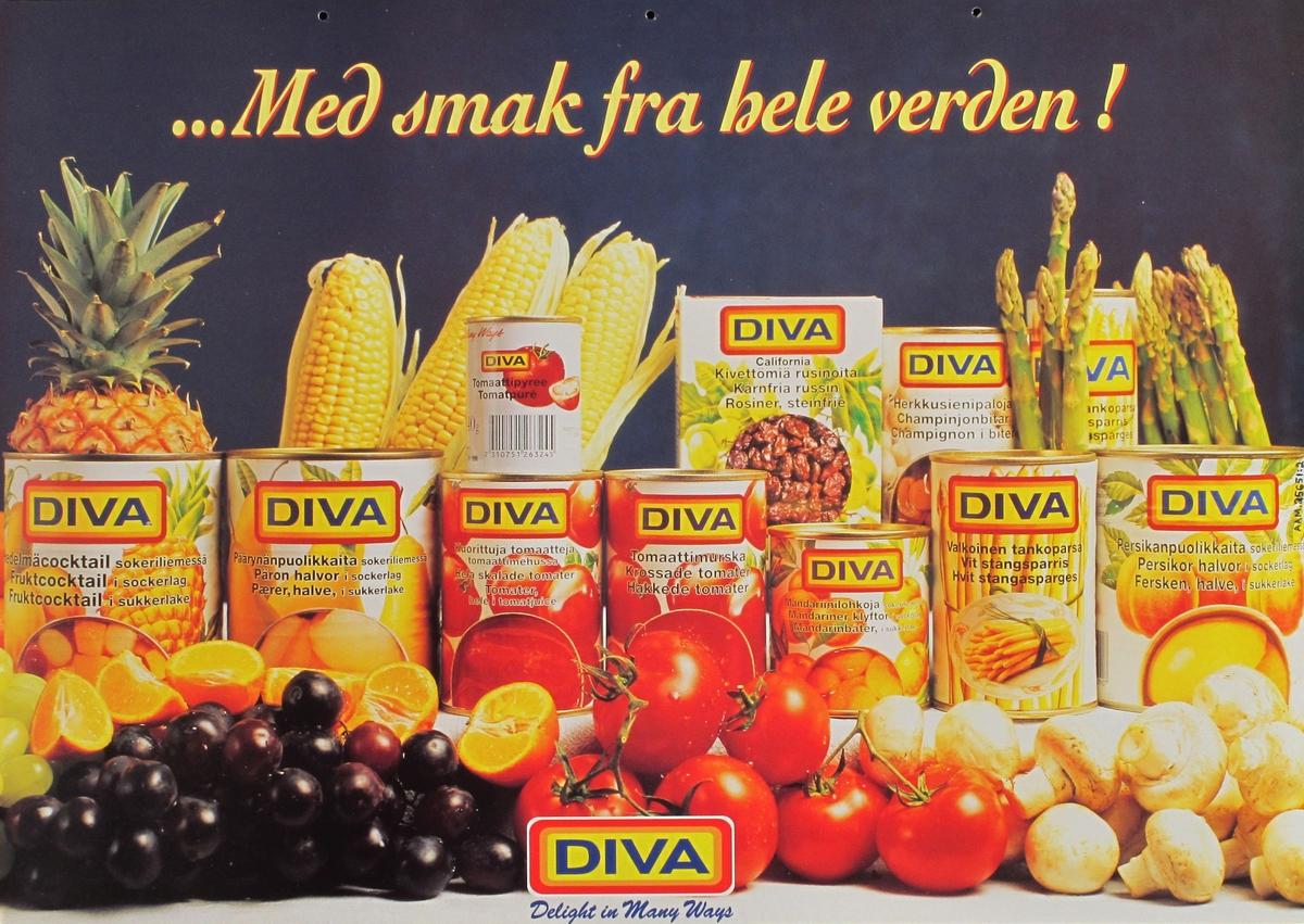 Hermetikk-bokser m. diverse frukter, frukter i forgrunnen.