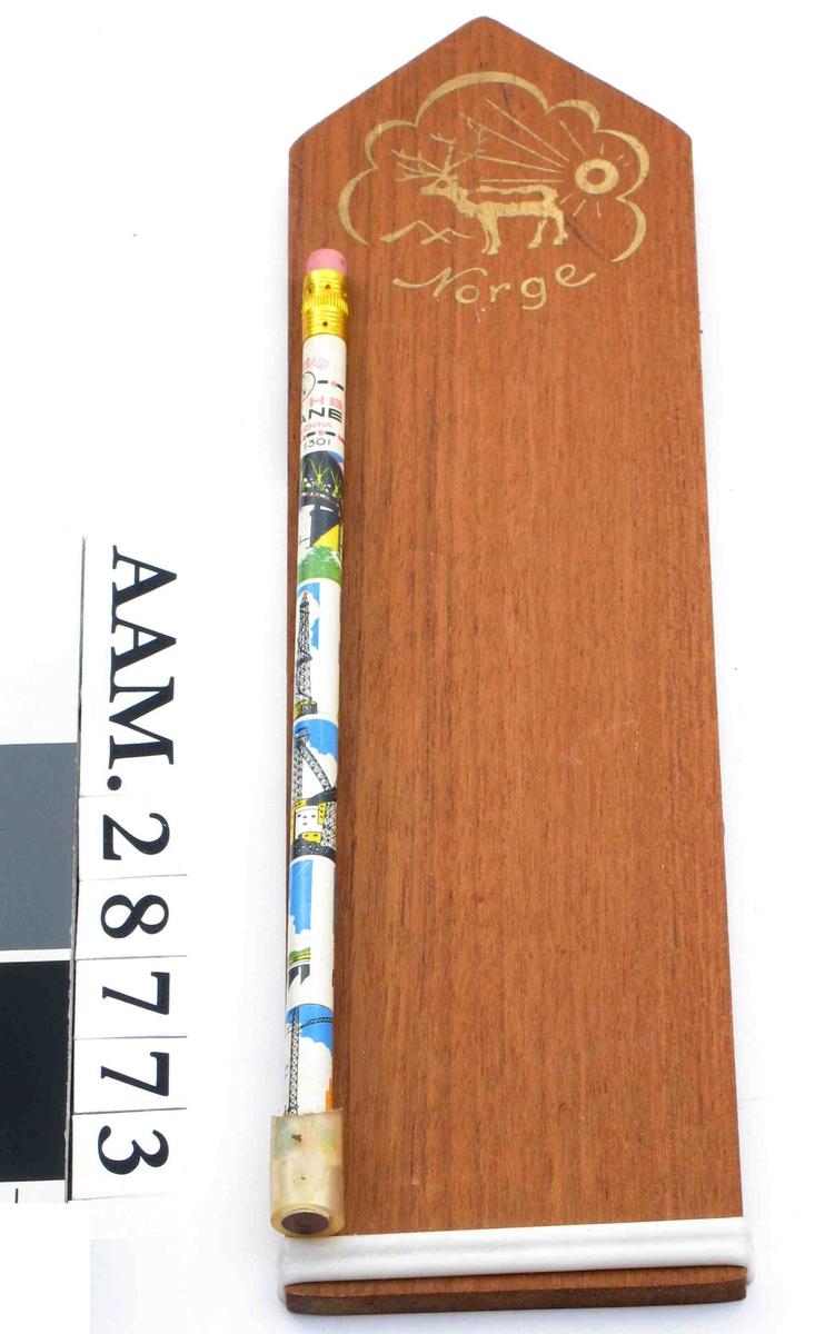 Heisekraner, bildedekor på blyantens ytterside.