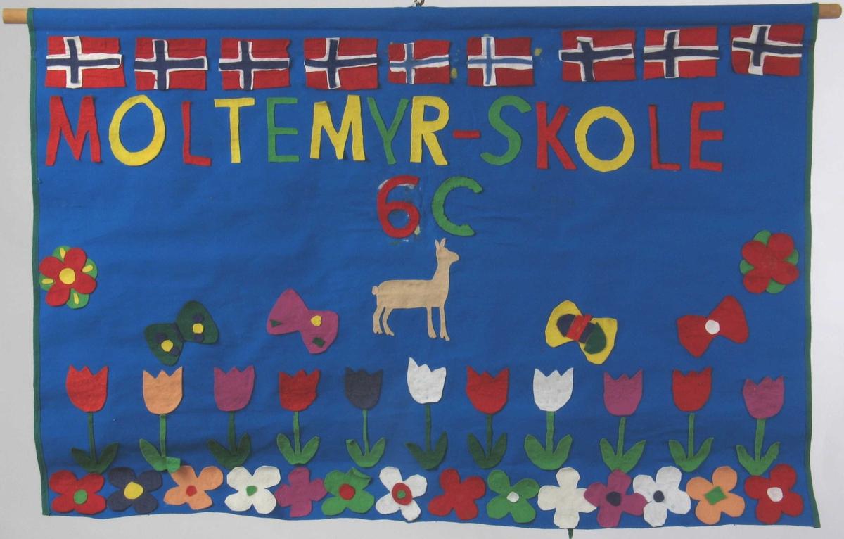 Norske flagg, sommerfugler, blomster, hjerter, rådyr