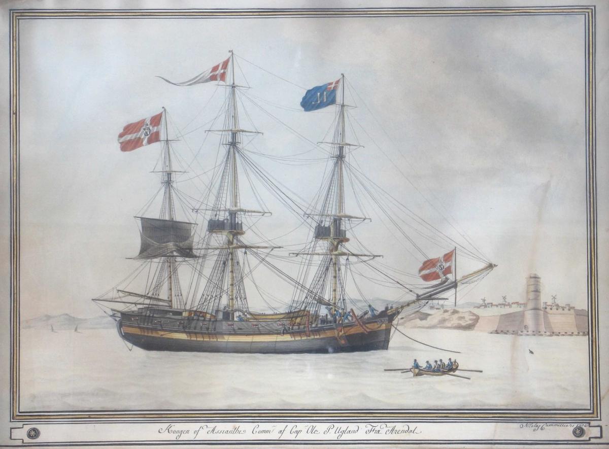 Seilskute, 3-master,   Forankret på red, beslåtte seil.  Skroget malt sort og gult, 7 + 7 kanoner på dekket.  Dannebrog C 7 på aktermast og baugspryd, vimpel, hvit m.  Dannebrog, på stormast, rederiflagg blått m.  bokstavene   IL  (= Isaac Leth, Arendal) i hvitt og m. Dannebrog i øvre hjørne,  på formasten. Båt på vannet i forgrunnen, kapteinen roes  av 4 matroser. Maltas murer m. fyrtårn i bakgr. t. h.   Tekst i nedre marg, sign. n. t. h.