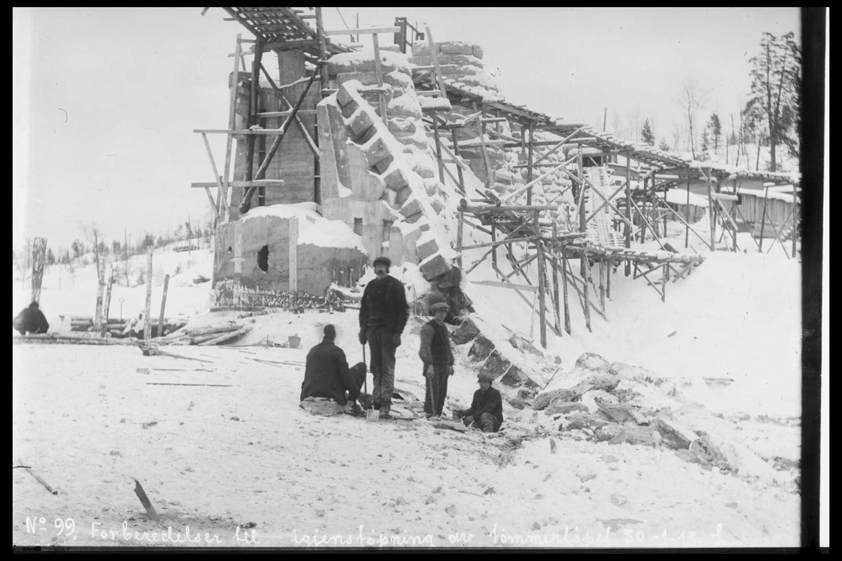 Arendal Fossekompani i begynnelsen av 1900-tallet CD merket 0565, Bilde: 20 Sted: Haugsjå Beskrivelse: Byggearbeidet