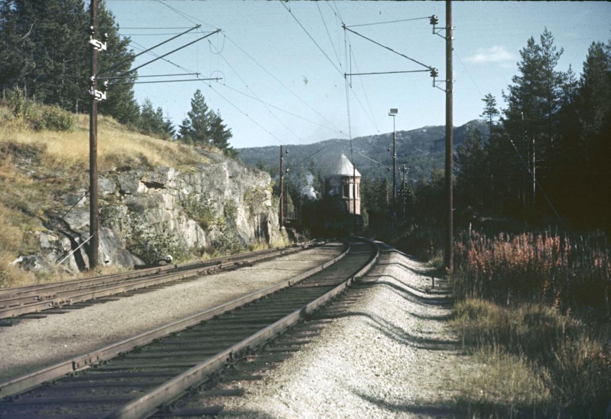 Tog retning Bergen på Austvoll stasjon