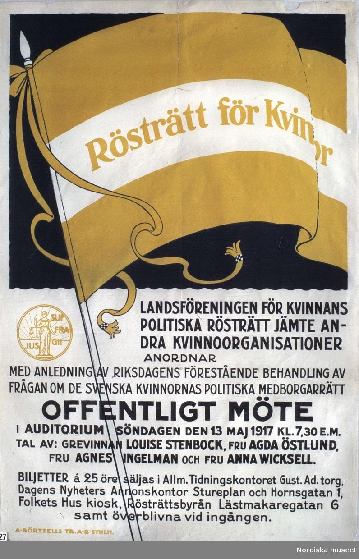"""Affisch. """"Rösträtt för kvinnor"""". Landsföreningen för kvinnans politiska rösträtt, 1917."""