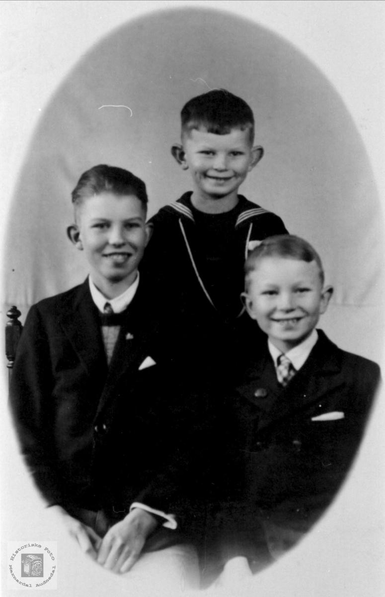 Gruppebilde Andreas, Per Ivar og Torgny Petterson Farestad, Skjernøy