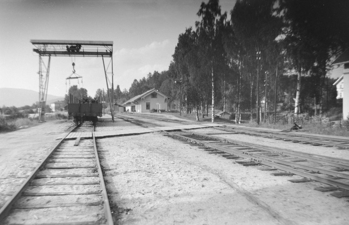 Krøderen stasjon med tømmerkranen