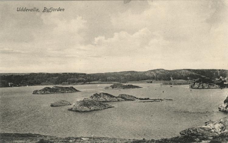 """Tryckt text på vykortets framsida: """"Uddevalla, Byfjorden."""""""