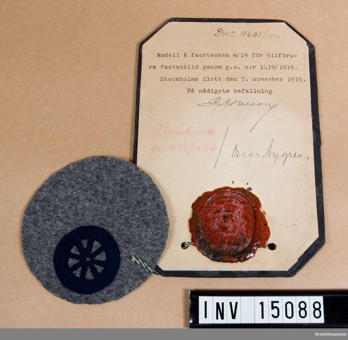 Grupp C I.  Modell å facktecken m/1919 för bilförare, fastställd genom go nr 1419/1919 den 1919-11-07. Upphävd genom go nr 1029/1934.
